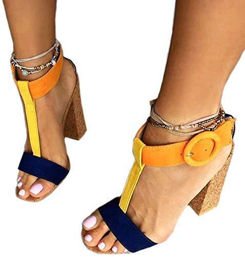 Dress Yellow Sandals (Women's Summer T-Shaped Wood-Tone Buckle Block Suede Open Toe Heel Pump Sandals Yellow Sise US 10.5)