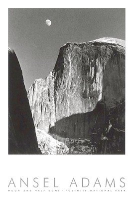 Moon and Half Dome (Embossed) - Poster by Ansel Adams (24 x 36) (Moon Half Dome)