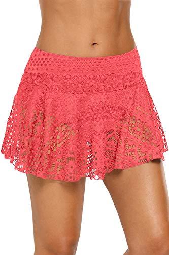- XAKALAKA Women's Lace Crochet Skirted Bikini Bottom Swimsuit Short Skirt Swimdress Orange Pink L