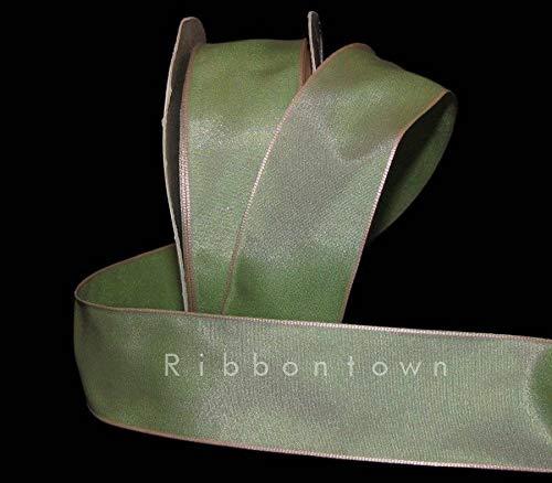 (Ribbon Art Craft Decoration 5 Yards Sage Green Pastel Pink Two Tone Mirage Wired Ribbon 1 1/2