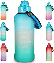 64oz / Half Gallon Motivational Water Bottle with Time Marker & Removable Straw, Leakproof BPA-Free Fitnes