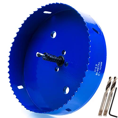 (Eliseo 6 inch 152 mm Hole Saw Blade for Cornhole Boards/Corn Hole Drilling Cutter & Hex Shank Drill Bit Adapter for Cornhole Game/Carbon Steel & BI-Metal Heavy Duty Steel (Blue))