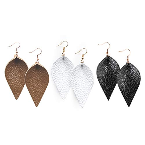 Me&Hz 3 Pack, Black/White/Brown Genuine Leather Earrings Drop Dangle Petal Leaf Earrings for Fall Leather Earring Set for Women Girls