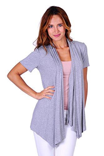 Simply Short Sleeve Top - SR Women's Basic Short Sleeve Open Cardigan (Size: Small-5X), 2X, Heather Grey