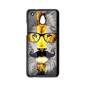 HTC One Mini Case,Lion Cross With Giant Mustache And Fashion Glasses Personalized Design Cover With Hign Quality Hard Plastic Protection Case