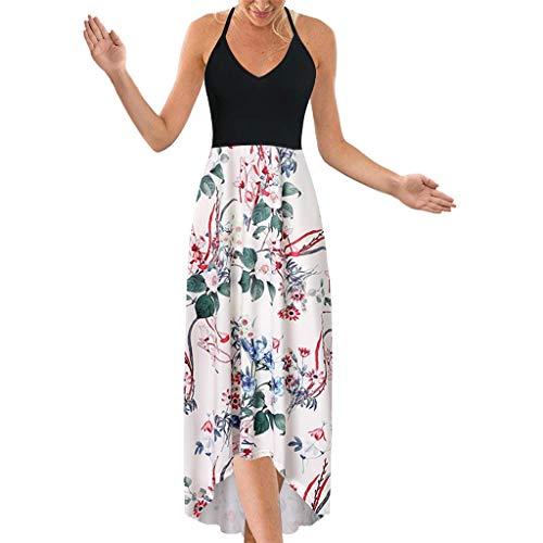 Sunhusing Ladies Off-Shoulder Sleeveless Halter Sling Lace-Up Boho Printed Irregular Hem Backless Beach Dress Dark Blue