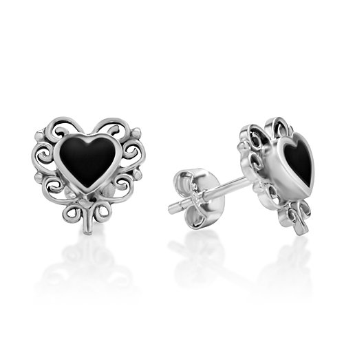 Black Onyx Gem Studs (925 Sterling Silver Bali Inspired Black Onyx Gemstone Filigree Heart 11 mm Post Stud)