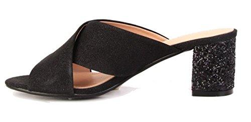 P16 Kvinners Slip Shimmer Strappy Svart Sko Muldyr Glitter Shu Åpen Sandaler Tå Sprø Damene På OW5fYq