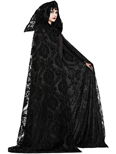 Forum Novelties Unisex-Adult's Standard Witch and Wizard Midnight Cloak, Black, Standard -