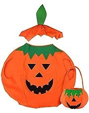 KOIROI Pompoenkostuum voor kinderen, pompoen, cape met hoed, muts, Halloween kostuum met tas, pompoen, carnavalskostuum voor kinderen, jongens en meisjes