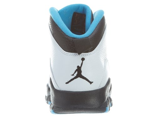 Jordan Nike Herren Air Retro 10 Basketballschuh Weiß / Dk Powder Blue Schwarz