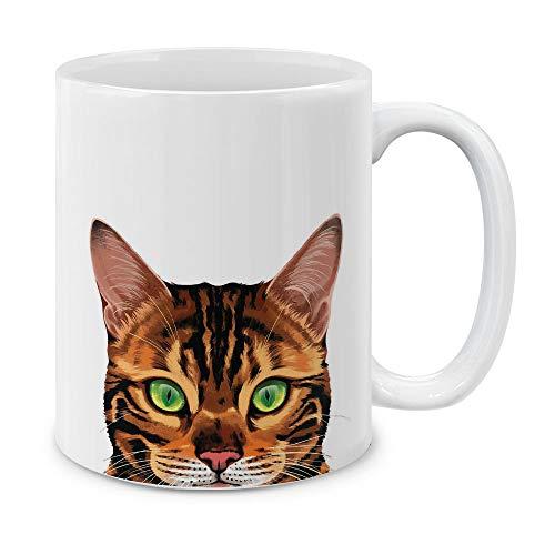 MUGBREW Spotted Brown Bengal Cat Ceramic Coffee Gift Mug Tea Cup, 11 OZ