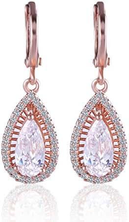 GULICX Fashion Jewellery Rose Gold Tone Clear Zircon Teardrop Leverback White Dangle Earrings
