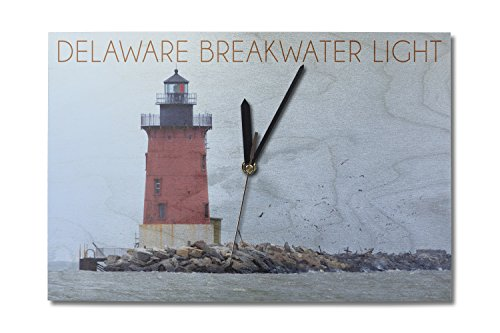 Lantern Press Lewes, Delaware - Cape Henlopen Lighthouse Day (10x15 Wood Wall Clock, Decor Ready to Hang)