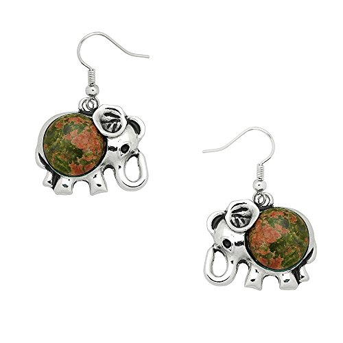 Liavy's Elephant Fashionable Gemstone Earrings - Fish Hook - Unakite Stone (Unakite Earrings Hook)