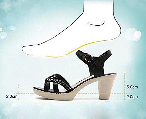 Girls L@YC Women's Sandals Summer Leather Soft Ground Casual Anti-skid High Rugged Women's Dress Sandals , black , 39