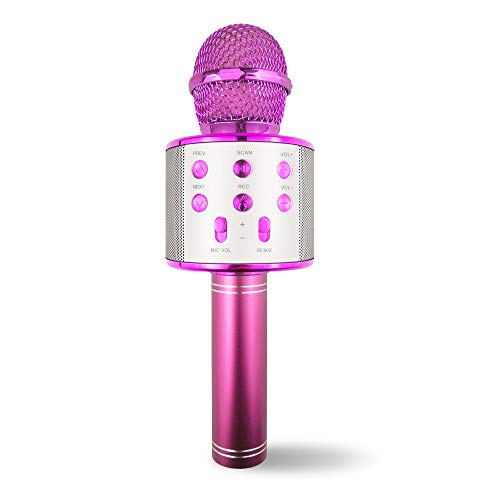 SUNNYPIG Gift for 4-12 Year Old Girl Kids, Wireless Bluetooth Microphone Toys for 6-12 Year Old Kid Girl Singing Microphone Birthday Gift for Girl Child Toy Age 5-11 Girl Karaoke Microphone Pink MIC (Good Birthday Gifts For 12 Year Old Daughter)