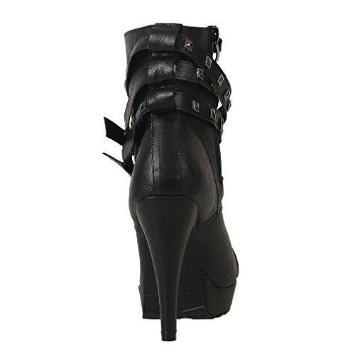 Lace Shoes Bloggers Pin Boots Women's Pumps up Lath Stilettos Rivets Ankle Sexy Black Biker with Plateau O4dxqqanz