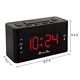 DreamSky Large Display Dual Alarm Clock With AM/FM Radio ,Battery Backup ,Sleep Timer And Snooze , 2 Dimmer Optional