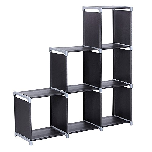 WOJOY 6-Cube Bookcase, DIY Cube Storage Modular Rack, Organiser in Living Room, Bedroom, Children's Room, Study, Office, for Toys and Daily Necessities, Room Divider, Black