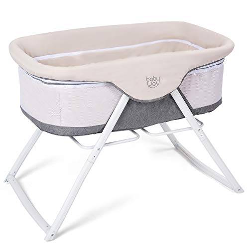 BABY JOY Rocking Bassinet, 2 in 1 Lightweight Travel Cradle & Portable Crib for Newborn Baby, Detachable & Washable Mattress, Zippered Breathable Mesh Side, Oxford Carry Bag Included (Beige + Gray) from BABY JOY
