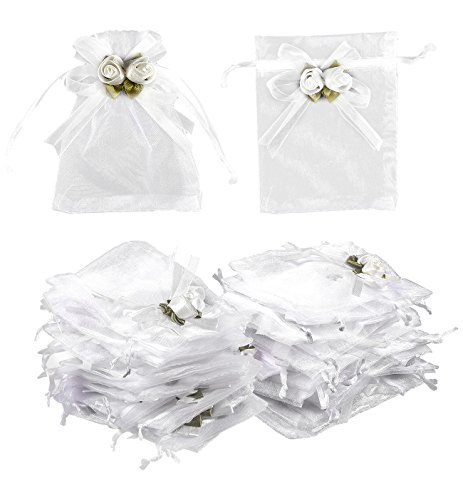 Organza Bags - 100-Count Rose Flower White Satin Drawstring Organza Bags, Tulle Bags, Mesh Favor Bags for Baby Showers, Wedding Gifts, Special Occasions, Party Favors - 3.7 x 4.7 Inches