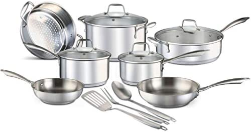 Chef s Star 14 Piece Stainless Steel Pots and Pans Set Professional Grade Kitchen Induction Cookware Oven and Freezer Safe Impact-Bonded Technology Includes Three Cooking Utensils
