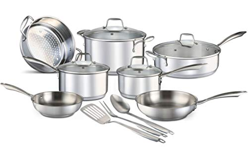 - Chef's Star 14 Piece Stainless Steel Pots and Pans Set Professional Grade Kitchen Induction Cookware + Oven and Freezer Safe + Impact-Bonded Technology + Includes Three Cooking Utensils