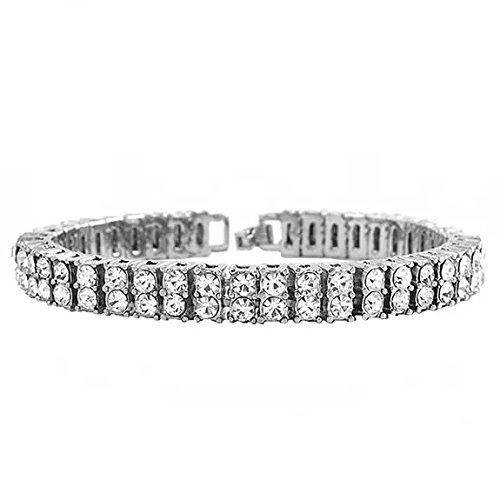 - Hip Hop Diamond Bracelet 2 ROW Punk style (Gold, Silver, Black) (Silver)
