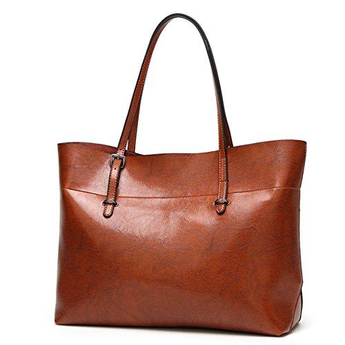 Damen Handtasche Leder Umhängetasche Vintage Schultertasche klein Shopper Taschen Luxus Henkeltaschen Schwarz, Braun, Weinrot
