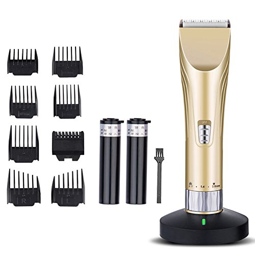 Electric Hair Clipper for Men and Babies Quiet Professional Cordless with Clean Charge Station Universal USB Charging for Home Travel Gold