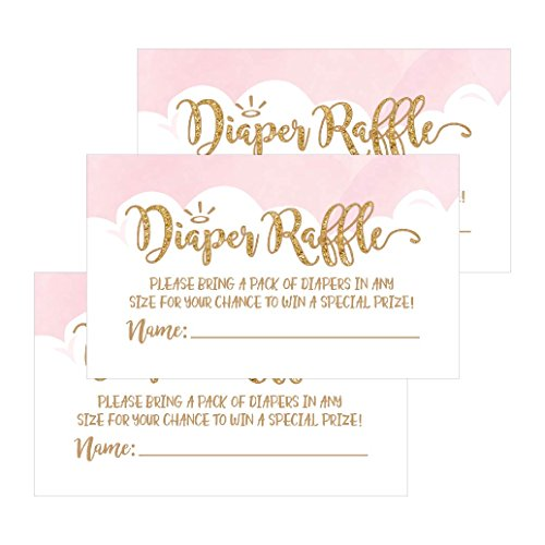 25 Diaper Raffle Ticket Lottery Insert Cards For Pink Girl Heaven Sent Baby Shower Invitations, Supplies and Games For Baby Gender Reveal Party, Bring a Pack of Diapers to Win Favors, Gifts and Prizes