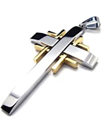 Gold Silver Stainless Steel Cross Mens Womens Necklace Pendant 24 inches Chain
