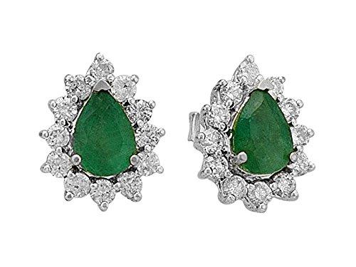 Birgie Diamants et Bijoux - Boucles d'Oreilles Diamants et Emeraude Ovale-Femme- or Blanc 201E0015
