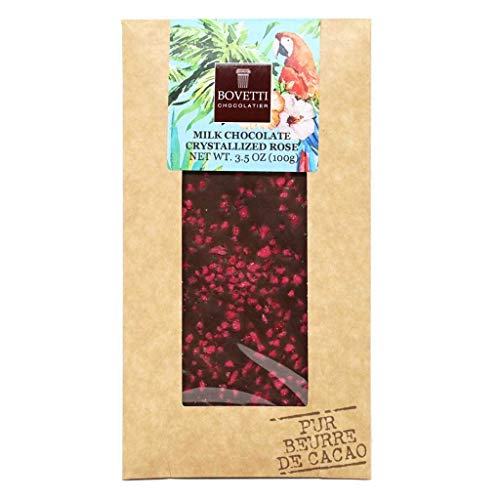 Bovetti Crystallized Rose Petal Pieces Milk Chocolate Bar, 100g
