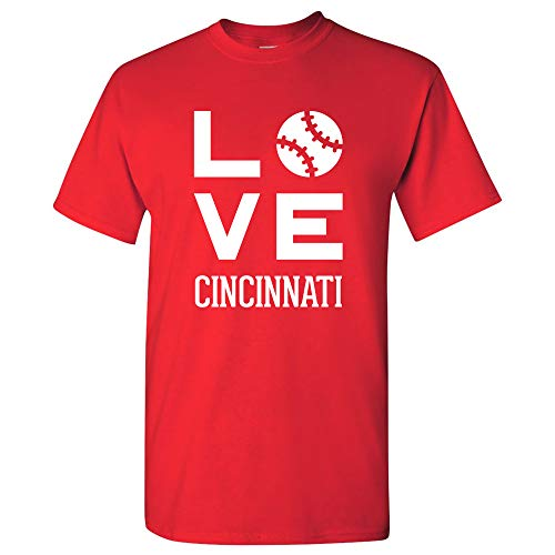 Cincinnati Reds Baseball Team - Cincinnati Love Baseball - League Team Pride Hometown Majors T Shirt - Medium - Red