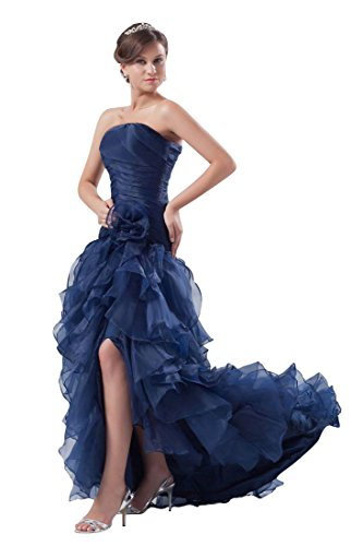 Beauty-Emily Maxi Tulle Sleeveless Ruching Pleat Flower Zipper Christmas Gifts Night Evening Dresses Color Dark Blue,Size US20W by Beauty-Emily (Image #1)