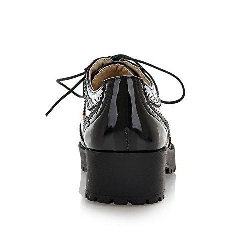 Amoonyfashion Dames Veterschoen Rond Gesloten Neus Lage Hak Lakleer Effen Pumps-schoenen Wit