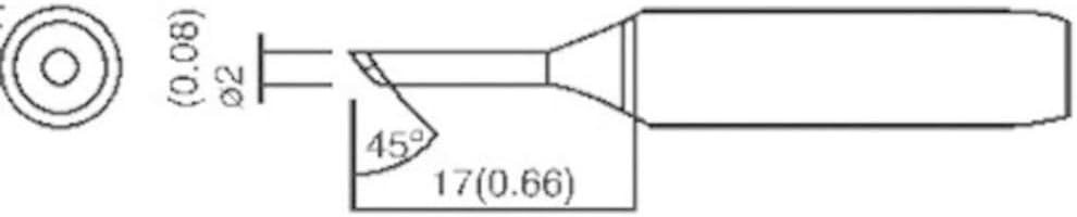 Toolcraft L/ÖTSPITZE T-2C ABGESCHR/ÄGT 2MM/Ø//45/°//17MM