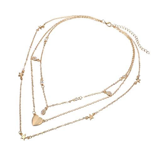 New Fashion Trendy Jewelry Hearts Choker Necklace for Women Pentagonal Star Drop Set With Diamond Star Three-layer Necklace Clavicle Chain Gift for Girlfriend Lover Wife Her Wedding Anniversary