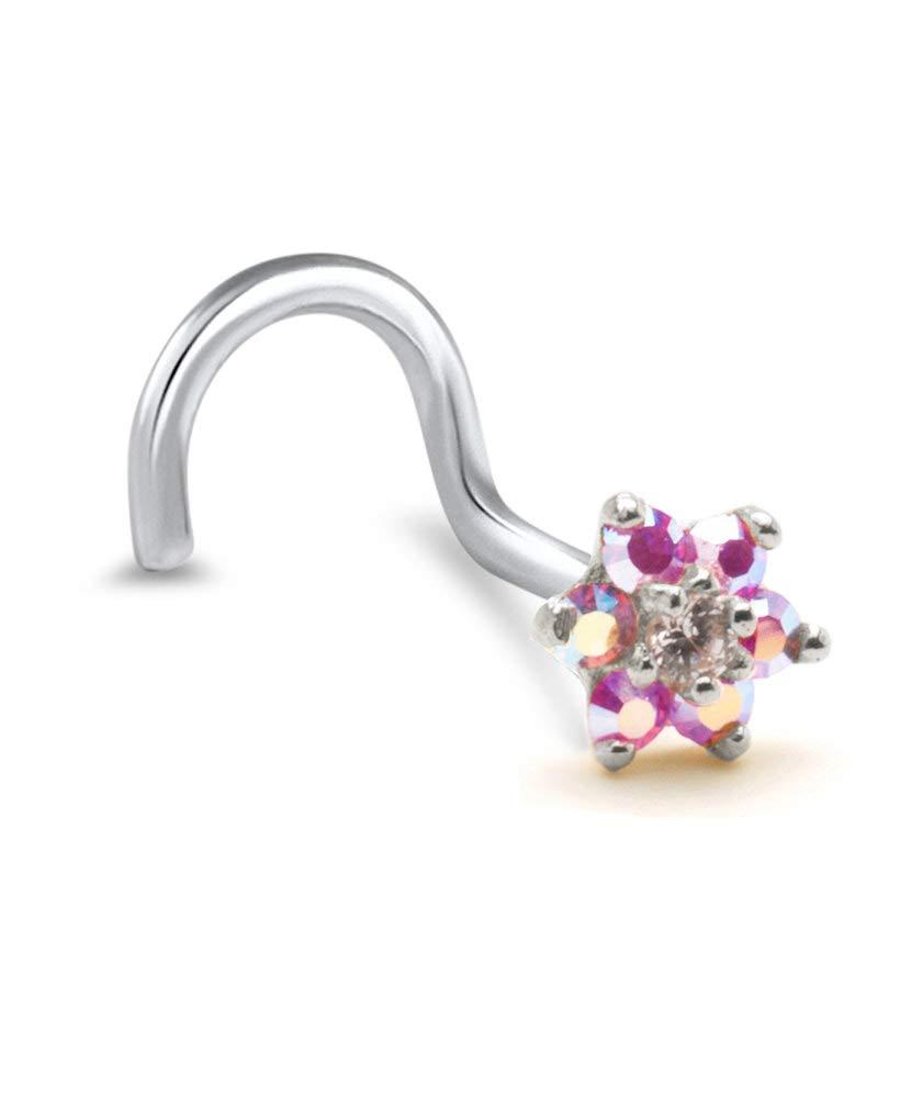 14k White Gold L Bend Nose Stud Ring 4.5mm Pink Aurora AB Christina Flower Cluster 18G