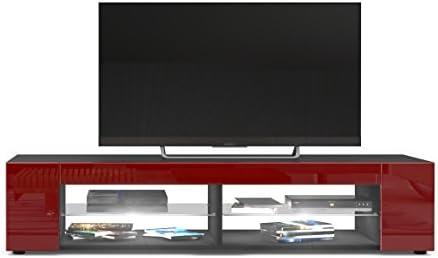 Mesa para TV Lowboard Movie, Cuerpo en Negro Mate/Frentes en Burdeos de Alto Brillo con iluminación LED en Blanco: Vladon: Amazon.es: Hogar