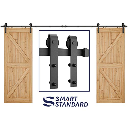- SMARTSTANDARD 12ft Heavy Duty Double Door Sliding Barn Door Hardware Kit - Smoothly and Quietly -Easy to install -Includes Step-By-Step Installation Instruction Fit 36