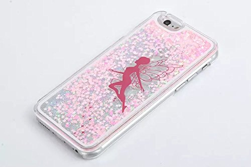 iPhone 5S hülle, Lantier Bling Transparent Kunststoff Hard 3D Glitter Quicksand und Star Print Fließende Schwimmdock Flüssige Case Schutzhülle für Apple Iphone 5 5S Painted Pflaumen-Blüten-Baum Haus O