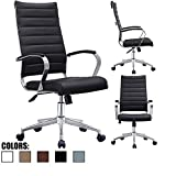 2xhome Black Contemporary Mid Century Modern High Back Tall Ribbed PU Leather Swivel Tilt Adjustable Chair with Back Swivel Wheels Designer Boss Executive Management Office Conference Room Work Task