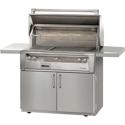 Alfresco ALXE-42SZC-NG 42'' Natural Gas Sear Zone Grill with Cart up to 108000 BTU Integrated Rotisserie Dual High-Intensity Halogen Work Lights and Built-In Motor in Stainless by Al Fresco
