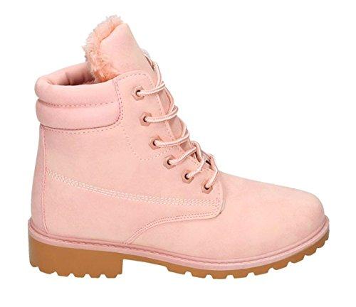 King Of Shoes Trendige Damen Stiefeletten Worker Schnürboots Outdoor Wander Stiefel Schuhe Bequem 46 Pink