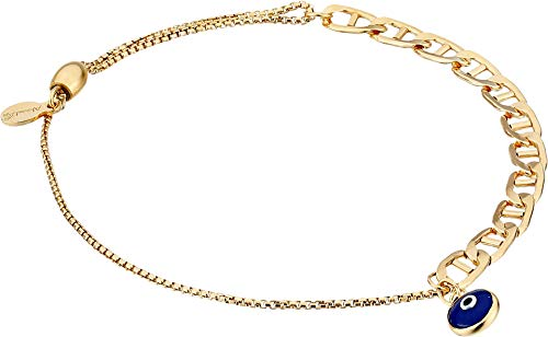 Alex and Ani Women's Evil Eye Flat Mariner Pull Chain Bracelet 14kt Gold Filled One Size ()