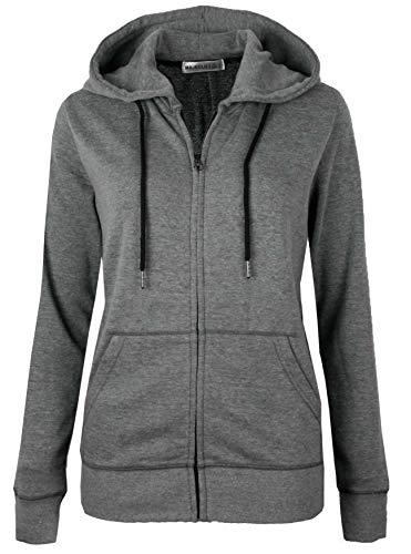 (MAJECLO Women's Active Slim Fit Zip-Up Hoodie Jacket Long Sleeve Sweatshirt (XX-Large, Slim_Dark Grey))