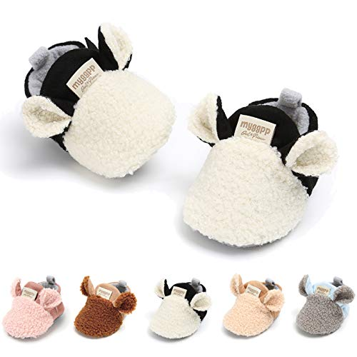 Baby Infant Boys Girls Boots Cute Animals Anti-Skid Warm Winter House Slippers Prewalker Crib First Walker Shoes(11cm(0-8 Months),A-White)